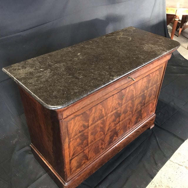 Gorgeous French Empire period commode having five drawers - top drawer with compartments, 3 large drawers for storage, and...
