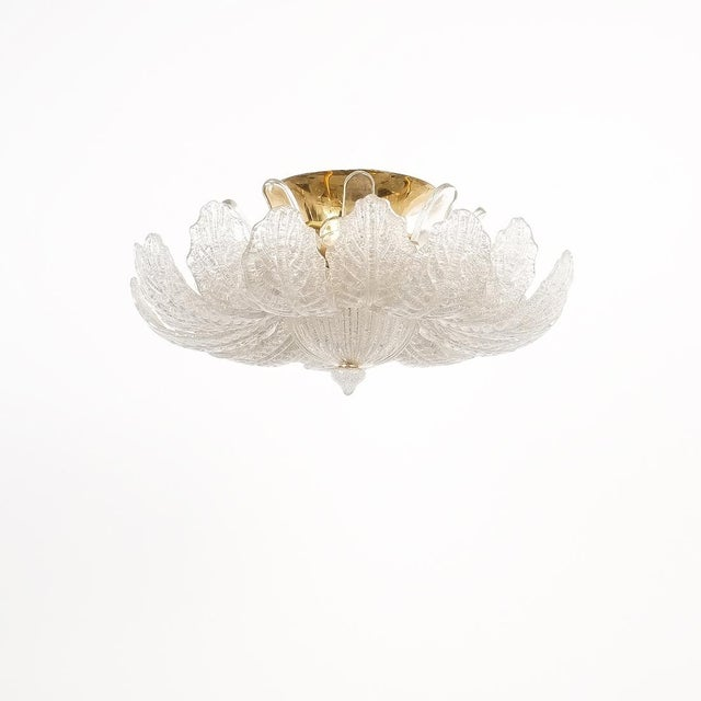 Great Barovier Toso Flush Mount or Chandelier Glass Brass, Italy Mid Century, circa 1965. Wonderful handmade petal glass...