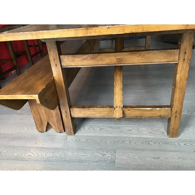 2010s Country Pottery Barn Dining Table with Bench For Sale - Image 5 of 11