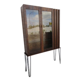 Brutalist Mid Century Modern Display China Cabinet With Hairpin Legs For Sale