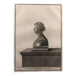 Classical Female Bust Engraving 1767 For Sale