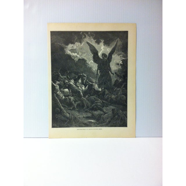 "Antique 1901 Gustave Dore Illustrated Print on Paper ""Destruction of Sennacherib's Host"" For Sale - Image 4 of 4"