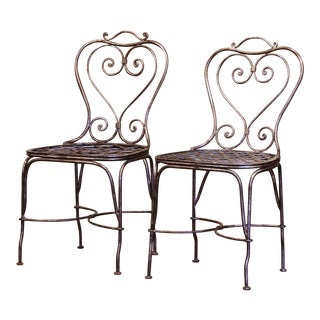 Pair of 19th Century French Polished Wrought Iron Outdoor Garden Chairs For Sale