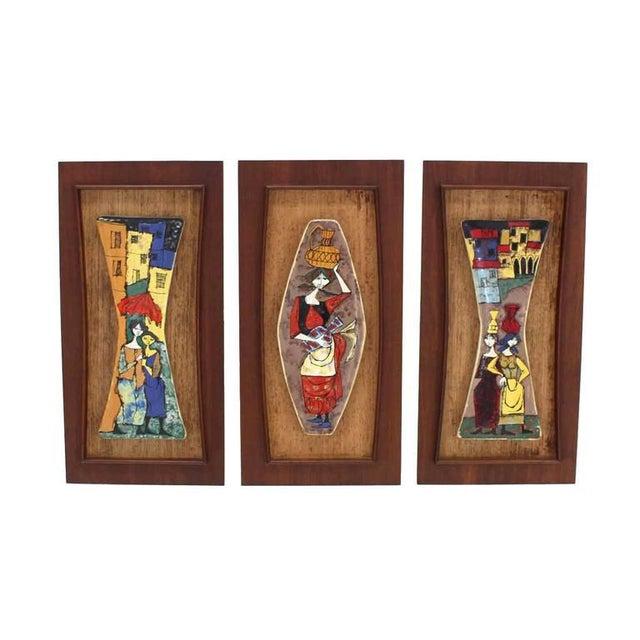Brown Set of Three Framed Art Tiles For Sale - Image 8 of 9