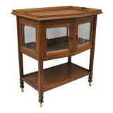 Image of Antique French Carved Oak Wood Bar Cart For Sale