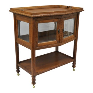 Antique French Carved Oak Wood Bar Cart For Sale