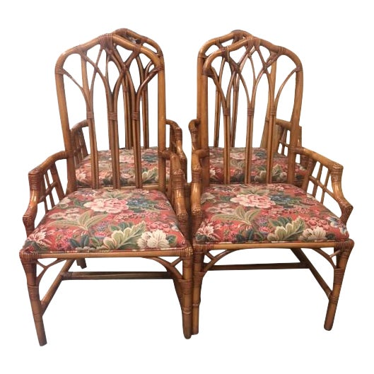 Henry Link Cathedral Rattan Chairs - Set of 4 - Image 1 of 5