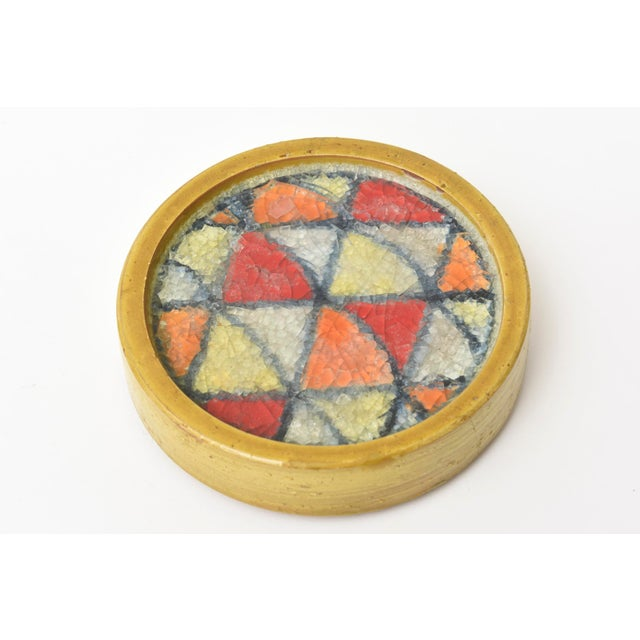 1960s Bitossi Glazed Ceramic Box With Fused Glass Mosaic Top For Sale - Image 5 of 9