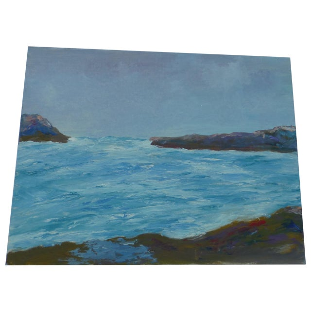 """Mid Century Painting """"Stormy Ocean,"""" H.L. Musgrave - Image 1 of 6"""