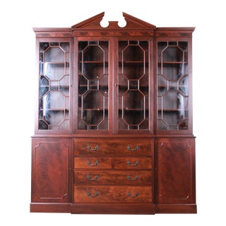 Baker Furniture Chippendale Flame Mahogany Breakfront Cabinet With Secretary Desk, Newly Restored For Sale