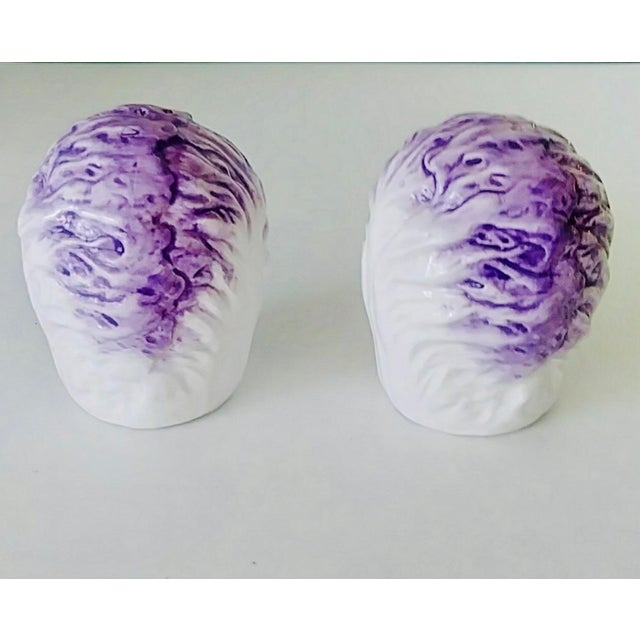 Farmhouse Vintage Fitz & Floyd Cabbage Salt & Pepper Shakers - a Pair For Sale - Image 3 of 6