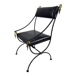 Italian Swan Motif Iron Campaign Chair For Sale