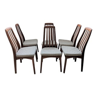 Scandinavian Style Vintage Teak Dining Chairs - Set of 6 For Sale