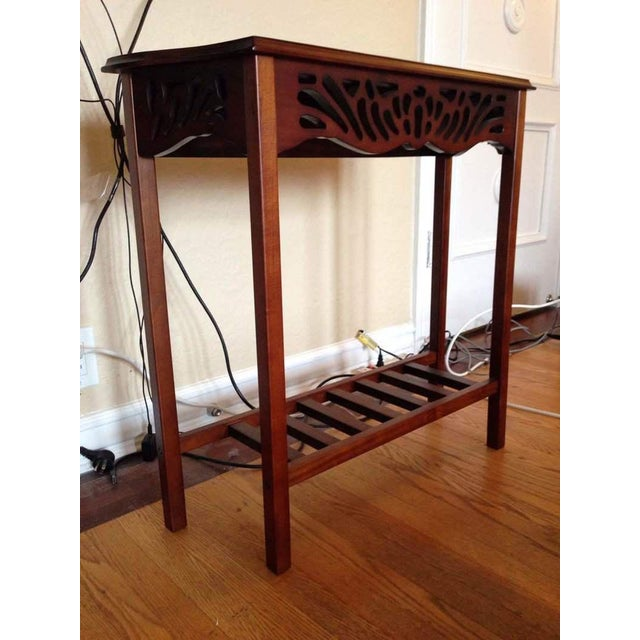 Contemporary Open Carved Mahogany Console Table - Image 4 of 5
