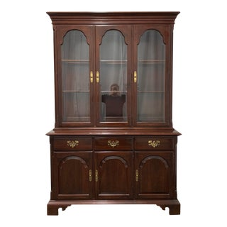 Ethan Allen Georgian Court Solid Cherry China Display Cabinet For Sale