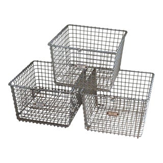 Mid-Century Steel Storage Baskets - Set of 3 For Sale