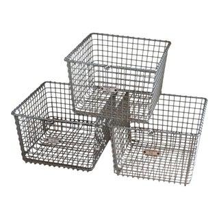 Mid-Century Steel Storage Baskets - Set of 3