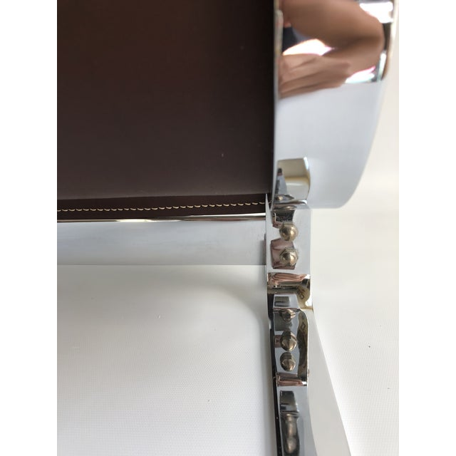 Brown Mid-Century Modern Danny Alessandro Chrome & Leather Log Holder or Magazine Rack For Sale - Image 8 of 11