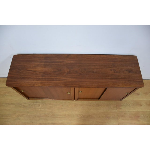 Walnut and Brass Tv Console Credenza - Image 7 of 11