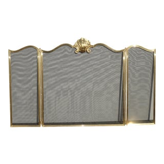 Vintage French Provincial Three Panel Brass Fireplace Screen For Sale