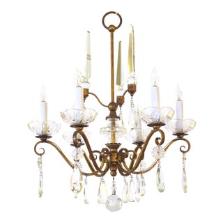 French 1940's Gilt-Metal 6-Light Chandelier With Crystal Pendants For Sale