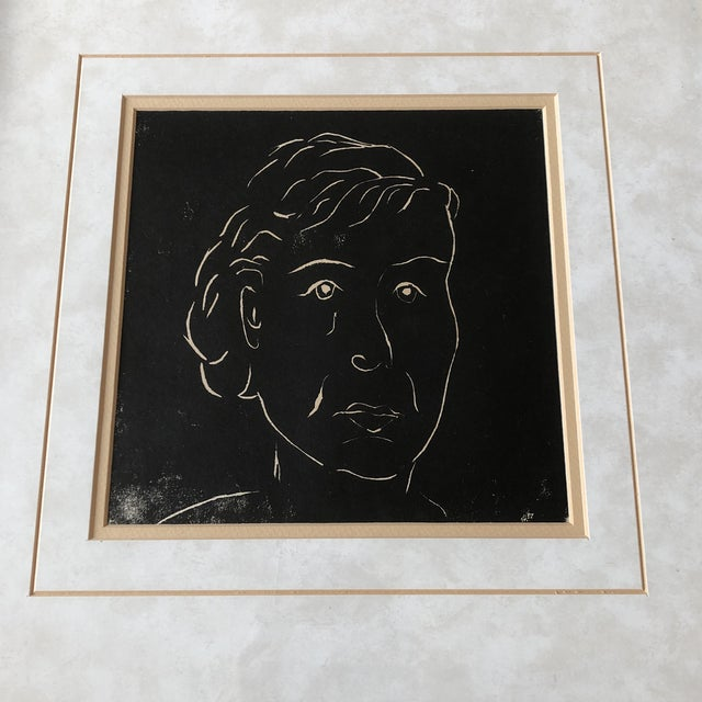 Original wood block print on paper unsigned 8.5 x 8.5 overall size with vintage frame is 20 x 20