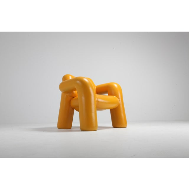 Blown-up chair (sun yellow, 2018) edition of eight for alfa. Brussels, 3D printed with robot arm. Schimmel & Schweikle is...