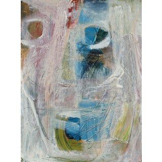 1950s Mid Century Modernist Abstract in Blue and Pink, Oil Painting For Sale