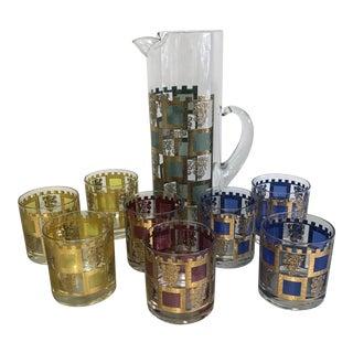 Vintage Culver Henry VIII Pitcher and Set of Glasses - 9 Piece Set For Sale