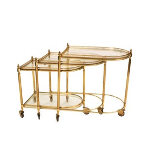 Neoclassical Hollywood Regency Brass Glass Nesting Tables For Sale