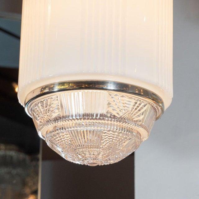 White Art Deco Machine Age Skyscraper Style Chrome & Opaque / Pressed Glass Pendant For Sale - Image 8 of 10