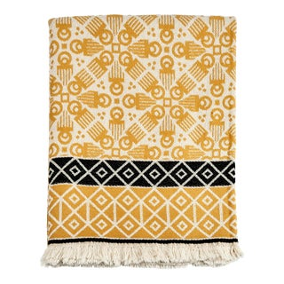 3rd Culture Mustard 'Duafe' Cotton Turkish Throw Blanket For Sale