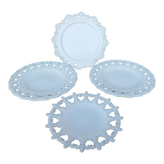 Vintage American Milk Glass Plates - 4 Piece Group For Sale