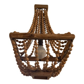 Coastal Wood Bead Chandelier For Sale