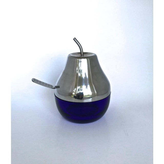 Cobalt & Chrome Jelly Pot & Spoon For Sale - Image 9 of 10