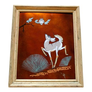 Vintage Mid-Century Enamel on Copper Deer & Owl Signed Painting For Sale