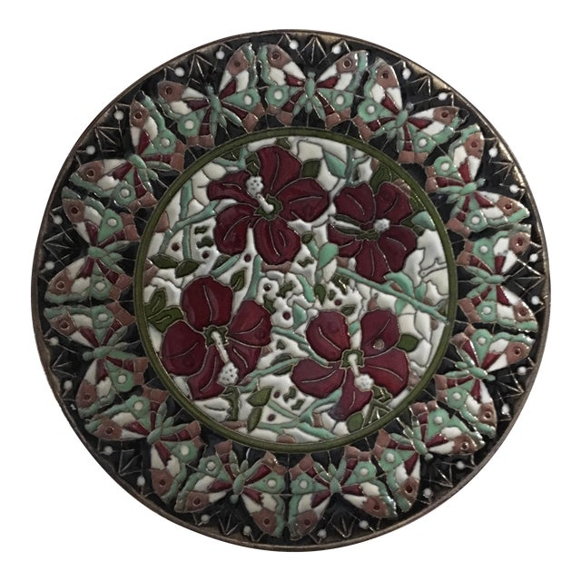 Hand Painted Floral Butterfly Cloisonné Decorative Plate For Sale