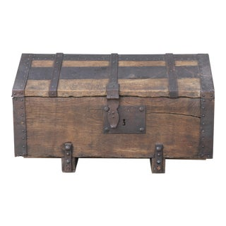 Spanish Rustic 1900's Wood and Metal Trunk Chest For Sale