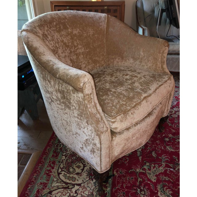 Antique Chair from 1940's to 1950's. Newly reupholstered in Crushed Gold  velvet. Down seat - Antique Crushed Gold Velvet Chair Chairish