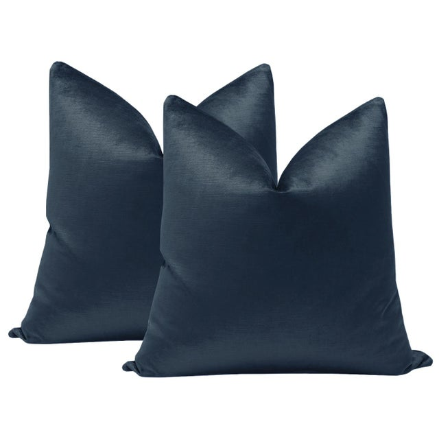 """2010s 22"""" Prussian Blue Luxe Velvet Pillows - a Pair For Sale - Image 5 of 5"""