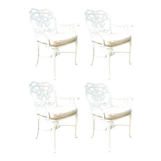 Brown Jordan Day Lily Outdoor Dining Armchairs - Set of 4 For Sale