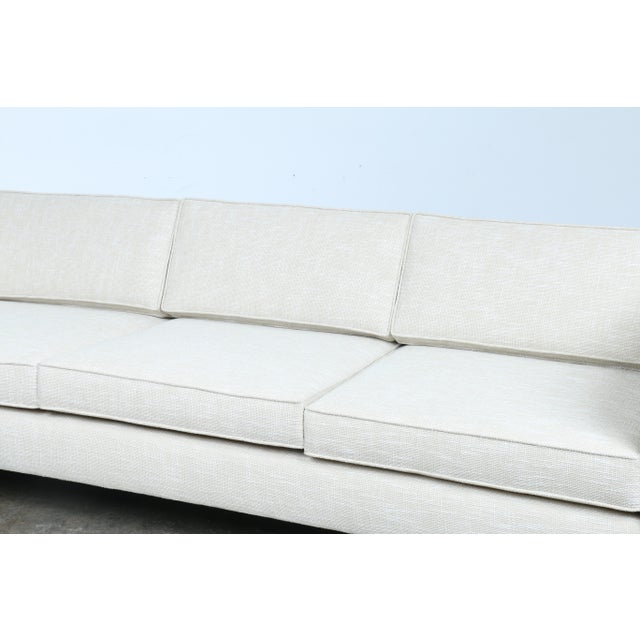 White Mid-Century Sofa With Chrome Legs For Sale - Image 5 of 11