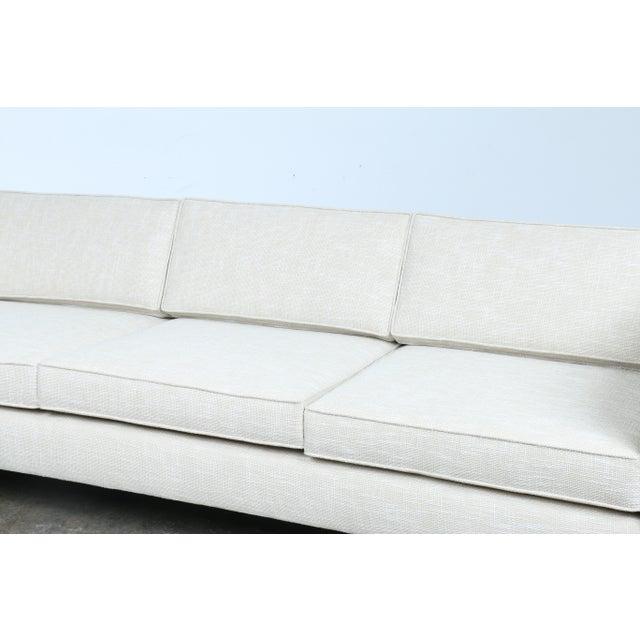 White Mid-Century Sofa With Chrome Legs