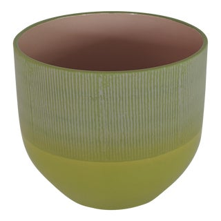 1970s Mid Century Modern Lime Green Ceramic Bowl by Scheurich Germany For Sale