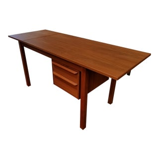 Teak Danish Modern Expanding Desk For Sale