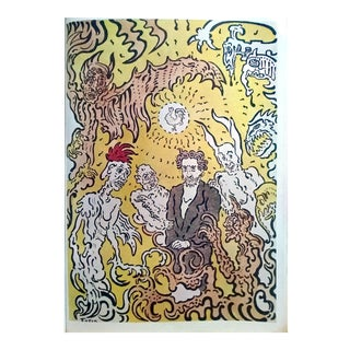 """James Ensor 1898 """"Surrounded by Evil Spirits"""" Book Plate Poster For Sale"""