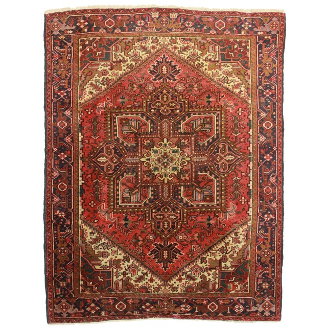 RugsinDallas Vintage Hand Knotted Wool Persian Hariz Rug - 6′11″ × 9′ - Image 1 of 2