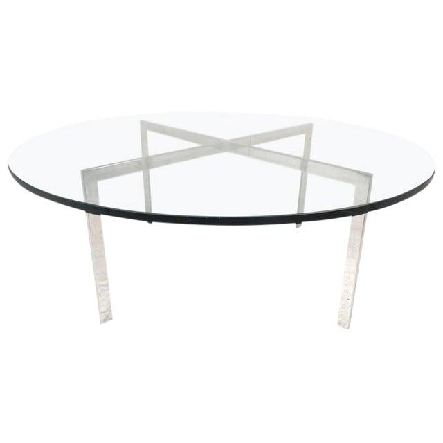 "Mid-Century Modern ""X"" Base Circular Chrome Coffee Table For Sale"