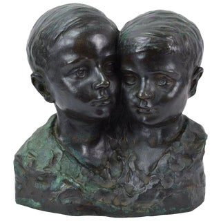 1925 Antique Alfredo Gualdi Two Young Brothers Bronze Bust For Sale