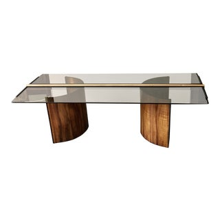 Architect-Designed Smoked Glass Top Teak Coffee Table